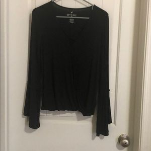 Long, bell-sleeve top